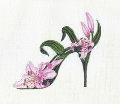 HP Raspberry Lily Slipper Needlepoint canvas by colors1 on Etsy