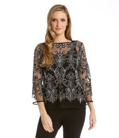 f14a83aa35c Karen Kane Black and Silver Embroidered Lace Top available from Dillard s   Karen Kane  Multicolor