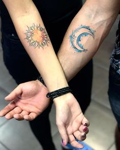 sun & moon tattoo for couples © Lili Krizsán • Wonderland Tattoo, Budapest, Hungary