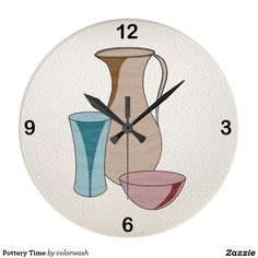 Pottery Time Large Clock - This is a clock that will suit, not only the studio potter or the person who loves ceramics, but also the person who wants the perfect clock for a kitchen. #ceramics #pottery #potter