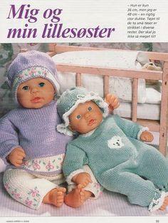 Album Archive - Dukketøj til Baby Born 2 - Ingelise Knitted Doll Patterns, Knitted Dolls, Knitting Patterns, Knitting Dolls Clothes, Doll Clothes Patterns, Knitting For Kids, Baby Knitting, Girl Dolls, Baby Dolls
