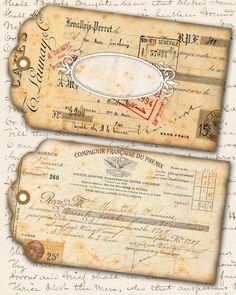 Vintage French Ephemera Editable Tags, Edit Yourself Shabby Tag Vintage Tags, Vintage Ephemera, Diy Journaling, Cardboard Art, Handmade Tags, Vintage Crafts, Post Card, Journal Covers, Collage Sheet