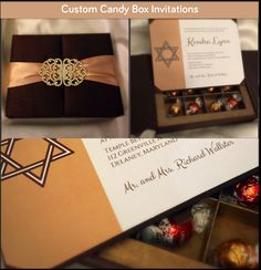Custom Candy Box Bat Mitzvah Invitations Designed by Zuri Concepts - mazelmoments.com