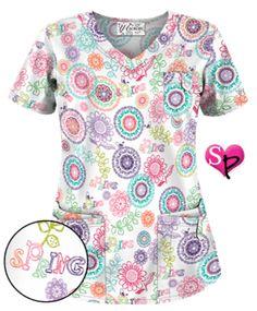 UA Spring Out White Print Scrub Top Style # UA638SPO #uniformadvantage…