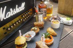 Gentlemen's afternoon tea, at Sanctum Soho. Beef & horseradish, burger, rabbit & pancetta pie, steak + a cigar.