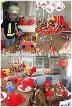 Feuerwehr Geburtstagsparty mit Idee zu einer Schatzsuche