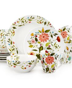 Kim Parker Woodland Floral 16-Pc. Set, Service for 4 - Dinnerware - Dining & Entertaining - Macy's