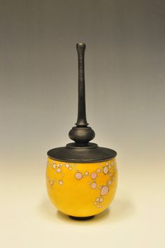 Sagger Pottery, vase, glazed with soluble metal salts