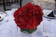 Outdoor wedding red floral centerpiece triasflowers.com