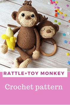 Crochet pattern eng monkey toy, monkey rattle and banana Crochet Doll Pattern, Crochet Toys Patterns, Stuffed Toys Patterns, Crochet Dolls, Crochet Clothes, Toy Monkey, Amigurumi Toys, Beautiful Crochet, Handmade Toys