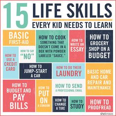 Life Skills Every Kid Needs... I prefer to skip the condom one!