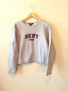 db1dce8b381 Vtg DKNY Cropped Grey Sweatshirt