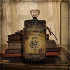 book, books, bottle, harry potter, mandrake root, potion