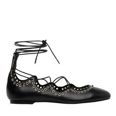 Lace up leather ballet with eyelet embellishment and scalloped edges. Leather upper with leather lining and synthetic sole.