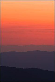 Layered Mountain Sunset, Shenandoah National Park, Virginia, United States.