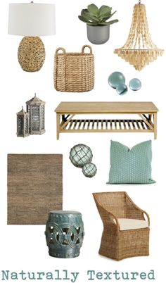 Naturally Textured | Coastal chic decor mood board