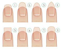 La forma que podemos dar a nuestras uñas depende de dos cosas: a) Nuestro gusto personal b) La forma natural de nuestras uñas. Las formas principales de limarse las uñas las podéis ver en el esquem...