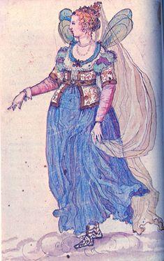 A fairy lady masque costume by Inigo Jones (early c) Theatre Costumes, Midsummer Nights Dream, Royal Fashion, Dress Fashion, Fashion Art, Illustrations, 17th Century, Faeries, Costume Design