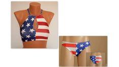 PADDED..American flag cut out high neck halter bikini top and matching bottoms-Swimsuit-Swimwear-4th July bikini-Bikini bottoms-XS-S-M-L-XL