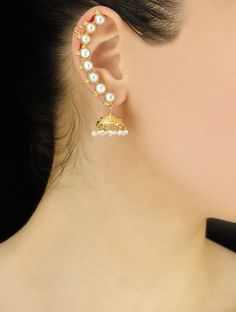 Handmade Pearl Silver Ear Cuffs Earring by Jaipurmahal on Etsy