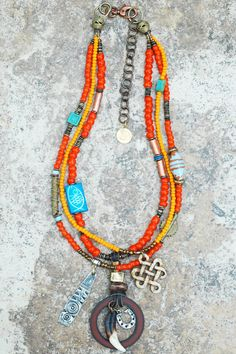 Orange Tribal Necklace | Layered Boho Jewelry | Unique | XO Gallery | XO Gallery