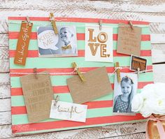 Coral and Mint Clothesline photo frame. Easy DIY