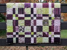 modern baby quilt for crib or wall hanging // plum and lime // bright modern florals
