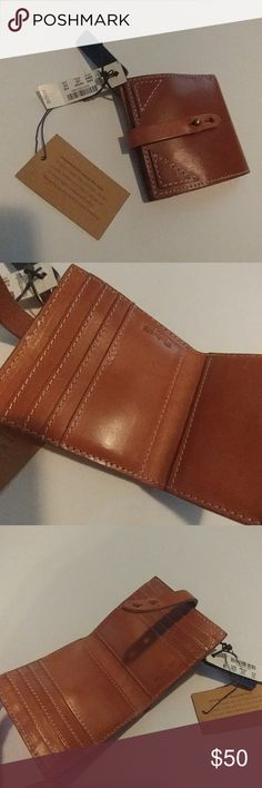 """NWT MADEWELL LEATHER WALLET Brand new with tags from a smoke and pet free home No damage flaws or defects Brown leather wallet w exterior zip pocket,  8 interior car slots and one large pocket, adjustable closure, accented stitching and embossed name interior Genuine Leather Approx 4"""" x 4"""" closed Madewell Bags Wallets"""