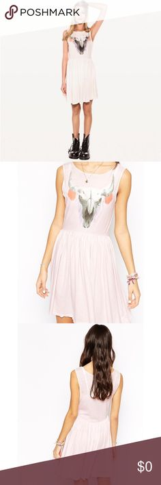 WILDFOX - Cherie Skull 90's Babydoll Dress 💕Rare WILDFOX 💗 CHERIE SKULL 90'S BABY DOLL STRAWBERRY ICE DRESS - Small ⭐️Rare⭐️   Pale pink scoop neck, open armholes, fitted tank dress with gathered waist skirt. A bull's skull is printed on the front. Size small! Will fit a S/M & M/L! Absolutely stunning on! Like new Condition! Original Price: $171 💜Offers are welcome! Wildfox Couture Dresses
