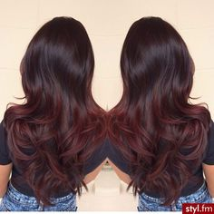 black to dark red ombre. Subtle. I'm doing this as soon as my hair gets long enough.
