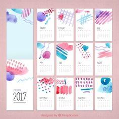 Creativo calendario de 2017 de acuarela                                                                                                                                                                                 Más