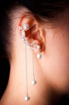Silver plated Еar Сuff.  White pearls.  by WorldOfMistery on Etsy