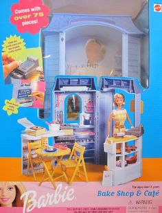 Barbie BAKE SHOP and CAFE Playset w 75  Pieces (1999 Arcotoys, Mattel) * Find out more about the great product at the image link.