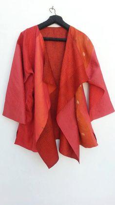 Cowl Collar Jacket- recycled silk sari- Lagenlook- hand stitch