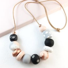 FREE EARRINGS Necklace polymer clay flesh grey marble by Berjique