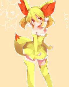 gijinka human version pokemon, fennekin by takeshima