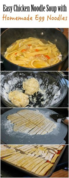 Easy chicken noodle soup with homemade egg noodles recipe! Love this Chicken…