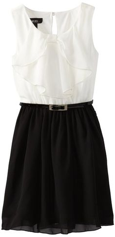 Amy Byer Big Girls' Bow Front Dress, Black, 7