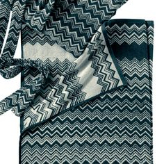Missoni Home's plush Keith towels have a black and white zigzag print…