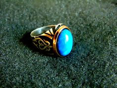 Silver and Bronze Ring,Sterling Silver Turquoise Ring,Mens Vintage Rings, Silver 925 Ring for Men,Art Deco Gemstone Ring,Artisan Jewelry by ArchipelagosBreeze on Etsy
