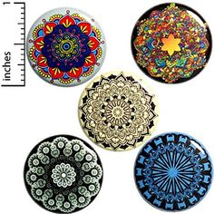 Mandalas 5 Pack Buttons Backpack Pins or Magnets Pretty Gift Set Funny Buttons, Cool Buttons, Jacket Pins, Pin Badges, New Pins, Pinback Buttons, Pretty, Ebay, Random