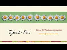 ▶ Flor de manzanilla (chamomile flower) tejida con botón de crochet - YouTube