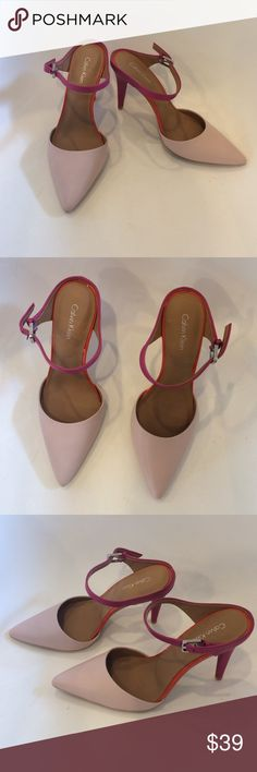 Calvin Klein Heels Pink/Orange Calvin Klein Heels brand new, never been worn! Size 7, however I am typically a 6.5 and they are very snug on me. Ideal for 6 or 6.5 foot. Calvin Klein Shoes Heels