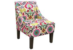 Wish I had a place for this Quinn Swoop-Arm Chair, Pink/Multi $289 on OneKingsLane.com