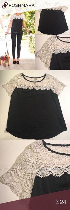 LC Lauren Conrad black with white crochet top Sz s 81- EUC LC Lauren Conrad black which white  crochet top size small LC Lauren Conrad Tops