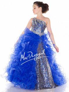 Royal/Silver Little Girls Pageant Dress | Mac Duggal 64945S