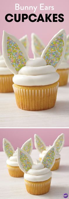 Pipe melted White Candy Melts candy to make bunny ears and top with sprinkles for a fun and colorful bunny ears cupcakes. They're cute for a springtime party or as desserts after an exciting Easter egg hunting activity.