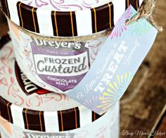 Share a delicious frozen treat this season: New DREYER's Frozen Custard in 5 yummy varieties: Old Fashioned Vanilla, Strawberry Shortcake, Chocolate Malt, Mint Cookies N' Cream and Peanut Butter Pie.  Free Printable Treat tags via @busymomshelper. Frozen Custard Time Sweeps Frozen Custard Time AD SWEEPS