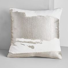 "$49   Ink Mural Pillow Cover, Platinum, 20""x20"""