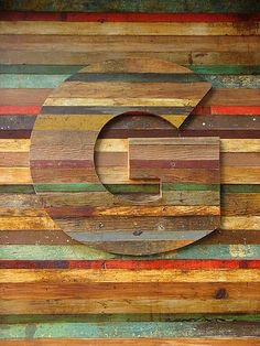 reclaimed wood wall & letter | Gee, I love this